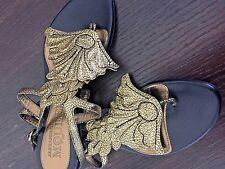 Alexander McQueen AMAZING sandals metallic  leaf motif SOLD OUT NEW !!!