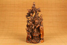 coper antique chinese old boxwood hand carved Eight Immortals statue netsuke