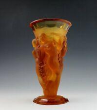 Glamorous  Art Deco 1930' Nude Figural  Bacchantes Amber Glass Vase
