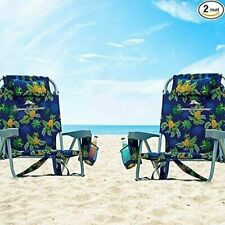 2 PACK | Tommy Bahama Backpack Beach Folding Deck Chair Yellow Pineapple 2020
