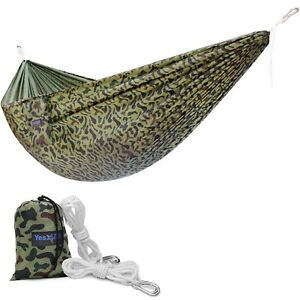 Yes4All Camo Single Lightweight Nylon Camping Hammock with Carry Bag