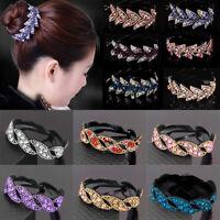 Women's Crystal Rhinestone Hair Clip Claw Clamp Bun Net Ponytail Holder Barrette
