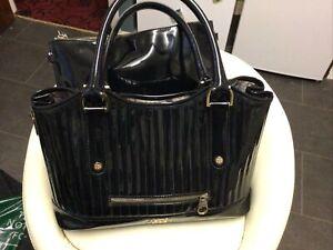 Ladies Large Black Patent Leather Ted Baker Shoulder Bag + Inner Zipped Bag