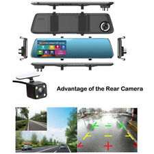 4.3'' 1080P HD Dual Lens Car DVR Rearview Mirror Dash Cam Recorder Camera Kits