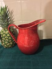 Vintage Red Speckled Enamelware Granite ware Water Pitcher LARGE 9""