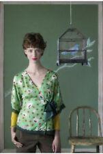 Anthropologie FEI sz 2 Synchronicity Green Floral Silk Blouse ~ Kimono Wrap Top