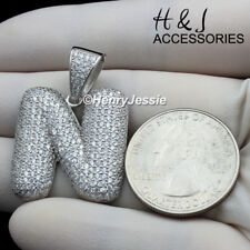 """MEN 925 STERLING SILVER ICED OUT BLING BUBBLE INITIAL LETTER """"N"""" PENDANT*ASP203"""