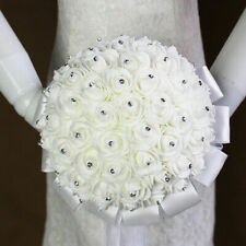 Hot Wedding Flower White Artificial Rose Crystal Bouquet For Bride Decor