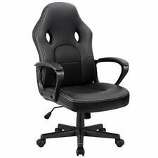High Back Office Swivel Chair Bucket Seat with Padded Armrests & Lumbar Support