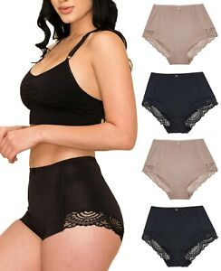 Womens Briefs Underwear Scrunch Butt Small to Plus Size 4 Pack Nylon Panties