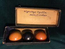 Set of 3 German Bowling Billiards Balls Kugels in Original Box ~ Kugel & Kegel