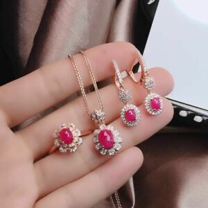 Certified Natural Ruby S925 Silver Plated Rose Gold Pendant Ring Earrings Set