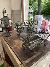Lot Of 3 Partylite Candle Holders Metal And Glass