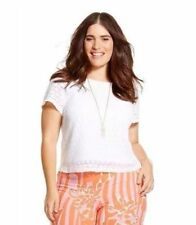 Lilly Pulitzer for Target Women's Plus Size Crochet Crop Top Blouse - White 1X