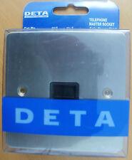 DETA 8181SCB TELEPHONE MASTER SOCKET FLATPLATE SATIN CHROME BLACK INSERTS New