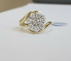 14ct Gold Diamond Cluster Ring 1ct