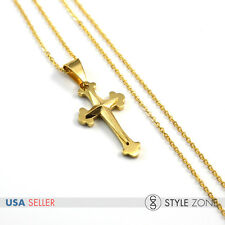 """18"""" Girl WOMEN's Stainless Steel Mini Star Small Cross Pendant Necklace Cute 13H"""