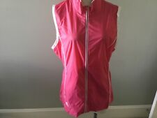 Adidas Pink Climaproof Women's Vest L Large Zipper Trimmed in White Lightweight