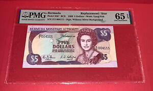 PMG Bermuda $5 Banknote Replacement/Star 1989 p35b* UNC65 EPQ