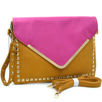 Dasein Women Evening Bag Two Tone Studded Envelope Clutch with Wristlet Strap