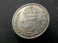 1913 Solid Sterling Silver Vintage Retro Threepence King George  Britain UK C018