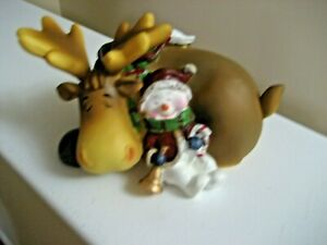 COLLECTIBLE CHRISTMAS RESIN SLEEPING SNOWMAN WITH A MOOSE- NEW IN BOX