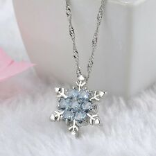 SILVER & CRYSTAL SNOWFLAKE NECKLACE IN ICE BLUE **UK SELLER** CHRISTMAS GIFT