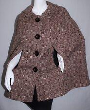 Vintage 60's Wool Herringbone Tweed Mod Chic Cape Cloak Coat One Size OS S M L