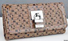Porte-monnaie et portefeuilles marron en cuir synthétique pour femme