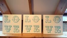 Love Love Love Hard Board Signs/Large/Beetles Quote/Wedding Decor/Home/Retro