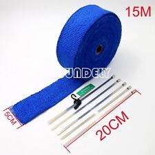 HEAT WRAP TAPE FIBER EXHAUST MANIFOLD 50MM x 15M BLUE+ 5 X 20CM CABLE TIES