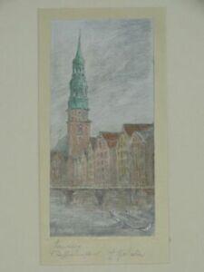 Hamburg St. Katharinen - signierte Bleistiftzeichnung - Reimersbrücke 1930