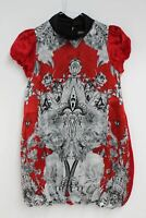 ROBERTO CAVALLI Girls Red & Grey Floral Baroque Silk Shift Dress 7 Years