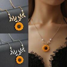 Women Sunflower Pearl Pendant Necklace Choker Clollar Clavicle Sweater Jewelry