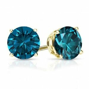 0.40 CTW I1 Blue Color Diamond SINGLE STUD Earring 14K Yellow Gold