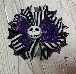 Jack Skillington Boutique Hair Bow Stacked  Nightmare Before Christmas Purple