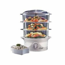 Russell Hobbs 21140 9 Litre 800W 3 Tier Food Steamer with Drip Tray - White