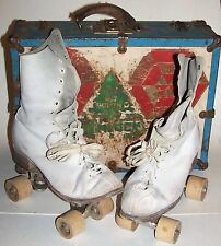 Vintage Chicago Roller Skates with Wooden Wheels in Metal Case