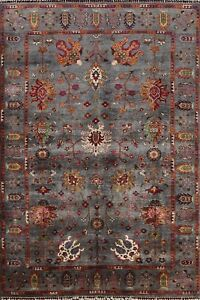 Vegetable Dye Floral Ziegler Oriental Area Rug Hand-knotted Gray Wool 6x8 Carpet