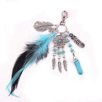 Boho Dream Catcher Turquoise Feathers Gemstone Palm Key Ring Charm Keychain New