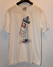 Ecko Unltd White Silver Blue Red Spray Can Graphic V Neck T-Shirt Sz L Used