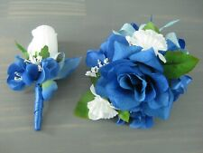 Prom Royal Blue White Rose Flower Wrist Corsage Boutonniere Set or Single Piece