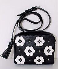REBECCA MINKOFF Floral Appliqué Camera Shoulder Makeup Bag Crossbody Leather NEW