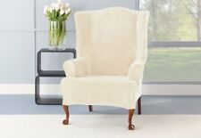 NEW Stretch Plush One Piece Wing Chair Slipcover Cream