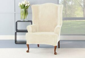 Stretch Plush One Piece Wing Chair Slipcover Cream