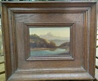 Tableau XIX eme Montagne Huile sur bois signé Cl.Defaye  Antique Oil Painting