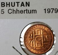 1979 Bhutan 5 Chhertum Brilliant Uncirculated Bronze Coin