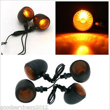4 Pcs 12V Waterproof Black Shell Amber Motorcycles Turn Signal Indicator Lights