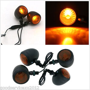 4 Pcs 12V Waterproof Black Shell Amber Motorcycle Turn Signal Indicator Light
