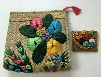 Vintage Straw Clutch Coin Purse 3D Floral Wicker Weave Bag Hippy Boho Summer